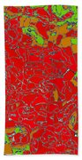Red Orange Green Abstract Painting Bath Towel