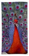 Red Peacock Bath Towel