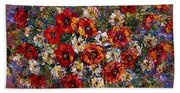 Red Poppies Bouquet Bath Towel