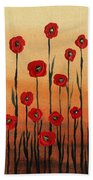 Red Poppies Decorative Art Bath Towel