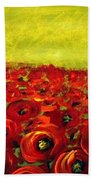 Red Poppies Field  Bath Towel