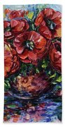 Red Poppies In A Vase Bath Towel