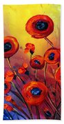 Red Poppies In Rain Bath Towel