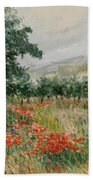 Red Poppies In The Olive Garden Bath Towel