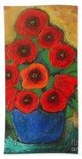 Red Poppies In Blue Vase Bath Towel