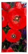 Red Poppy Cluster With Purple Lavender Bath Towel