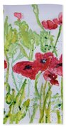 Red Poppy Flowers Bath Towel