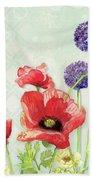 Red Poppy Purple Allium IIi - Retro Modern Patterns Bath Towel