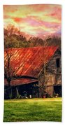 Red Roof At Sunset Bath Towel