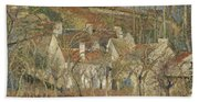 Red Roofs, Corner Of A Village, Winter Hand Towel