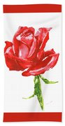 Red Rose Watercolor Painting Bath Towel
