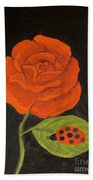 Red Rose, Oil Painting Bath Towel