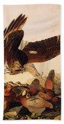 Red Shouldered Hawk Attacking Bobwhite Partridge Bath Towel