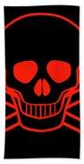Red Skull And Crossbones Bath Towel