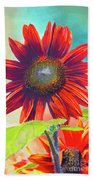 Red Sunflowers At Sundown Bath Towel