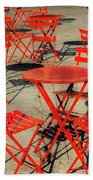 Red Tables And Chairs Bath Towel