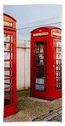 Red Telephone Booths London Bath Towel