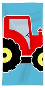 Red Toy Tractor Bath Towel