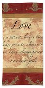 Red Traditional Love Bath Towel by Debbie DeWitt