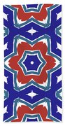 Red White And Blue Star Flowers 1- Pattern Art By Linda Woods Bath Towel