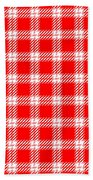 Red White Tartan Bath Towel