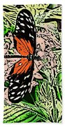 Red Winged Butterfly Bath Towel