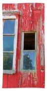 Red Wood And Windows Bath Towel