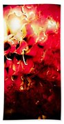 Red Zinnia Abstract Bath Towel