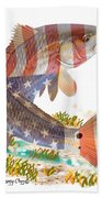 Redfish, White And Blue Bath Towel