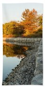Reflecting On Autumn - Gray Rocks Highlighting The Foliage Brilliance Bath Towel