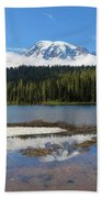 Reflection Lakes In Mount Rainier National Park Hand Towel