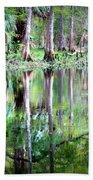 Reflection Of Cypress Trees Bath Towel