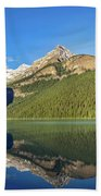 Reflections In The Water At Lake Louise, Canada Bath Towel