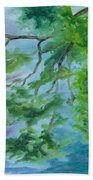 Reflections On The Mill Pond Bath Towel