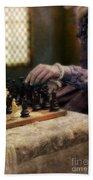 Renaissance Lady Playing Chess Hand Towel