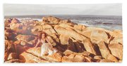 Resting On A Cliff Near The Ocean Hand Towel