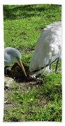 Resting Wood Stork And White Egret Bath Towel