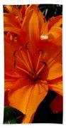 Retreating Orange Lilies Bath Towel