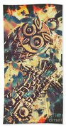 Retro Pop Art Owls Under Floating Feathers Hand Towel