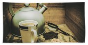 Retro Vintage Toned Tea Still Life In Crate Bath Towel
