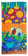 Return To Happy Frog Meadow Bath Towel