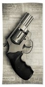 Revolver Pistol Gun Over Drawings Bath Towel