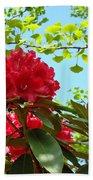 Rhodies Art Prints Red Rhododendron Floral Garden Landscape Baslee Bath Towel