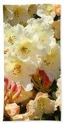 Rhodies Creamy Yellow Orange 3 Rhododendrums Gardens Art Baslee Troutman Bath Towel