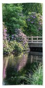 Rhododendrons And Wooden Bridge In Park Bath Towel