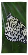 Rice Paper Butterfly Sitting On Green Foliage Bath Towel