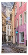 Riga Narrow Road Digital Painting Bath Towel
