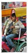 Rikshaw Rider - New Delhi India Bath Towel