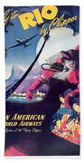 Rio, Brazil, Pan American Airways, Dancing Woman Bath Towel