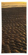 Ripples In The Sand Low Tide Golden Sunset Bath Towel